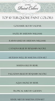 "My Top Ten ""Turquoise"" Paint Colors (Favorite Paint Colors) Happy Friday everyone! Today I am sharing with you my favorite blue/green, or ""turquoise"" paint colors…. Turquoise Paint Colors, Turquoise Painting, Paint Colours, Zen Colors, Top Turquoise, Vintage Paint Colors, Hallway Paint Colors, Beach House Colors, Coastal Paint Colors"