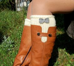 Hand knit Boot Cuffs with Crochet Bow , Knitted Boot Cuffs, Boot Toppers, Wool Boot Cuffs,Womens Boot Cuffs, Leg warmer, Womens Boots Socks