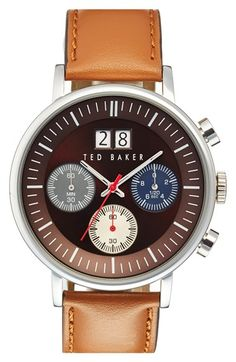 Free shipping and returns on Ted Baker London Chronograph Leather Strap Watch, 42mm at Nordstrom.com. A subdial trio packs chronograph complication into a cleanly styled watch brightened ever so slightly with colored details. A highly polished case and smooth leather strap complete the dashing design.