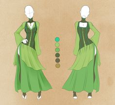 :: Commission Outfit July 15 :: by VioletKy on DeviantArt Dress Drawing, Drawing Clothes, Anime Outfits, Cool Outfits, Dress Outfits, Elf Clothes, Fantasy Dress, Fashion Art, Fashion Design