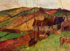 Cottages on Mount Sainte Marguerite, 1888 by Paul Gauguin, Breton period. Post-Impressionism. landscape. Private Collection