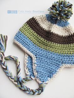 hat:  no pattern, but would not be hard to make; love the color combo and the pom pom