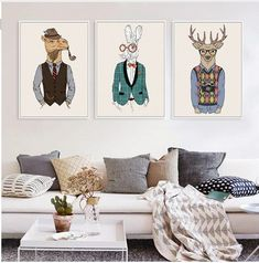 Fashion Animals Giraffe Zebra Horse  Vintage Art Prints Poster Hippie Wall Picture Canvas Painting No Framed Office Home Decor * Continue with the details at the image link. #HomeDecor
