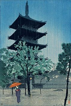 "Japanese Art Print ""Pagoda in Evening Rain (Yanaka, Tokyo)"" by Kasamatsu Shiro. Shin Hanga and Art Reproductions http://www.amazon.com/dp/B00XTGU6EM/ref=cm_sw_r_pi_dp_i7.swb187YAY7"