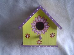 Spring Fling Hand Painted Wood Birdhouse. $10.00, via Etsy.