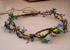 Rustic blue Flower Crown Woodland fairy summer hair accessory Music Festivals Vine twine headwreath Bridal Hairpiece