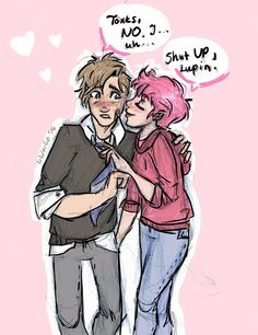 Tonks and Lupin by http://livleslie.tumblr.com/