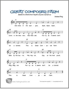 """Print Great Composer Farm Voice, Piano, Guitar Lead Sheet on MakingMusicFun. """"Chickens in the barnyard, Bach, Bach, Bach, Cows in the meadow, Moo, Moo - zart..."""" #makingmusicfun Free Printable Sheet Music, Free Sheet Music, Music Lesson Plans, Music Lessons, Mozart For Kids, Bible Songs, Easy Piano Sheet Music, Nursery Rhymes Songs, Lead Sheet"""