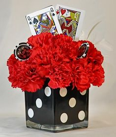 Godfather Themed Centerpieces Black Gems Red Roses And