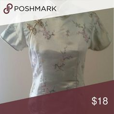 Chinese silk shirt Gold silk with pink and yellow floral design traditional Chinese shirt. Silver Dragon  Tops Blouses