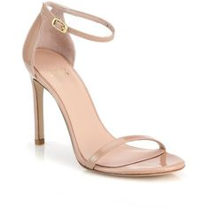 Stuart Weitzman Nudistsong Patent Leather Sandals found on Polyvore featuring shoes, sandals, heels, apparel & accessories, nude, nude sandals, nude patent shoes, nude heel sandals, nude heel shoes and heeled sandals