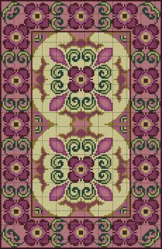 Purple Floral Rug of Cross Stitch Borders, Cross Stitch Flowers, Cross Stitch Designs, Cross Stitch Charts, Cross Stitching, Cross Stitch Embroidery, Embroidery Patterns, Cross Stitch Patterns, Latch Hook Rugs