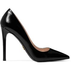 Prada Prada - Glossed Textured-leather Pumps - Black (172.215 HUF) ❤ liked on Polyvore featuring shoes, pumps, pointed-toe pumps, pointed toe stilettos, shiny black shoes, black pointed toe pumps and heels stilettos