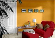 Farbgestaltung Für Ein Wohnzimmer In Den Wandfarben: Honey/Ziegel/Macchiato