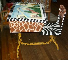 Whimsical Hand painted school desk ~~JUNGLE~~theme