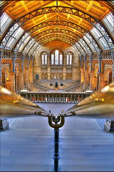 The Natural History Museum - Originally this collection was in the British Museum, but space got ever tighter. Prince Albert oversaw the creation of a museum quarter in Kensington (its name Albertopolis is still in use). Waterhouse designed the building covered inside and out with terracotta tiles, to resist the sooty Victorian atmosphere. This is the main entrance hall, where you're greeted by 'Dippy' the dinosaur down below. SW7, South Kensington Tube. By nick.garrod on Flickr, 2007.