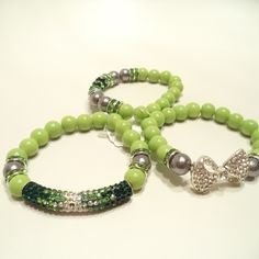 Multi-Color Green and White Crystal Rhinestones Bar Bracelet Set 2 from LaTor-Gray Designz for $20.00