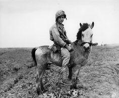 US Marine Private Grady Hogue on a horse Okinawa Japan April 1945.