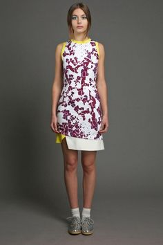 Available at www.elainemcgovern.com Purple and white print viscose dress with yellow and white silk trim €380