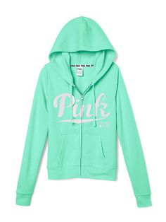 VS PINK Perfect Full-Zip Hoodie Pure Black | Obsession PINK ...