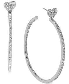 Betsey Johnson Silver-Tone Crystal Heart Hoop Earrings