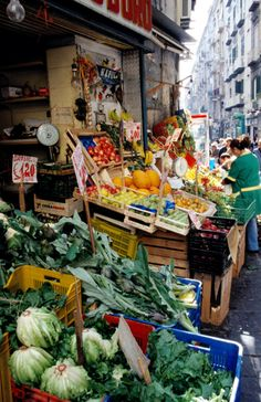 street market in naples, italy - la pignasecca This area is now an open air market with shops and vendors.