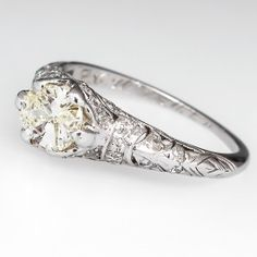 Art Deco Cushion Cut Diamond Engagement Ring Platinum 1920's