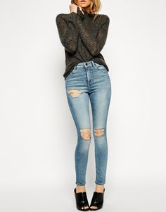 Image 1 ofASOS Ridley Skinny Ankle Grazer Jeans in Tyler Wash with Busted Rips