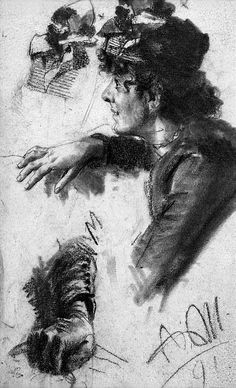 Study of a Female Figure in Profile, with Related Studies of a Hat and Right Hand // Adolf Menzel
