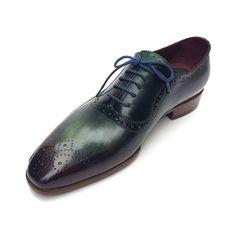 Paul Parkman Green & Purple Handmade Oxfords (ID#OPK215C)