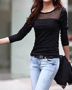 Stylish Round Collar Voile Splicing Slimming Long Sleeve Women's T-Shirt
