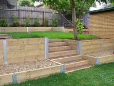 Garden Sleepers are have a number of different uses in the Garden. They can be used as a retaining wall a lawn edging or just to keep the bark from Sloped Yard, Sloped Backyard, Terraced Backyard, Back Garden Design, Modern Garden Design, Modern Design, Garden Stairs, Terrace Garden, Garden Paths