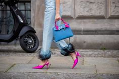 Mandy Bork is seen wearing denim jeans with feathers Prada, purple heels Balenciaga, Hermes bag on July 2019 in Berlin, Germany. Get premium, high resolution news photos at Getty Images Berlin, Hermes Kelly Bag, Chanel Vintage, Purple Heels, Gucci Loafers, Pink Feathers, Shades Of Purple, My Bags, Designer Shoes