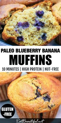 Use up those bananas and fresh or frozen blueberries. Great recipe! Blueberry-Banana Muffins take just 10 minutes to mix up, they're Paleo, Gluten-free and Nut-free! Awesome for snacks, breakfast, or alongside any meal. || Eat Beautiful | paleo blueberry muffins | paleo banana muffins | healthy muffin recipe | gluten-free blueberry banana muffins | nut-free | #blueberry #muffins #banana #healthyrecipes Banana Blueberry Muffins, Healthy Banana Muffins, Gluten Free Blueberry, Healthy Muffin Recipes, Gluten Free Recipes For Breakfast, Allergy Free Recipes, Healthy Breakfasts, Healthy Snacks, Paleo Baking