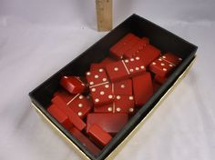 This is a rare domino set that are the Red Bakelite. Dinner Party Games, Candy, Chocolate, Antiques, Red, Etsy, Antiquities, Antique, Chocolates