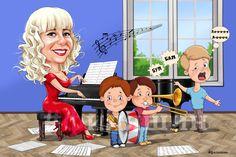 Весёлый дружеский шарж на учителя музыки. Приятный оригинальный подарок от коллег:)  #филяшин #шаржи #музыка #дети #пение #учитель_музыки #урок #тромбон #caricature #cartoonart #cartoon #teacher