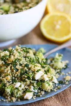 (Chilled) Couscous Tabbouleh Salad with feta cheese, parsley, and green onions. (No feta or cucumber for me. Summer Salad Recipes, Summer Salads, Vegetarian Recipes, Cooking Recipes, Healthy Recipes, Couscous Recipes, Couscous Salad, Great Recipes, Favorite Recipes