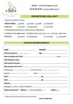 Formulaire de Inscription 2016-2017 - Ateliers comme à la maisonAteliers comme à la maison