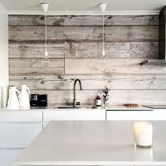 ~Wall of W o o d~ Credit: @slottetpaastranda   Loving the look of the wood in the kitchen area!  Texture of wood is definitely a great solution to make an interior looking interesting and artfully