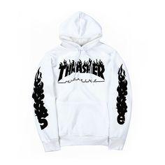 Thrasher Hoodies Men Fire Printed Sweatshirt Unisex Hip Hop Streetwear Skateboard Fashion Tracksuit Male Sportwear ZOOTOP BEAR
