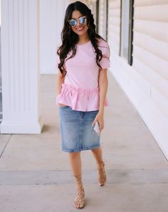 Sunnies: ASOS (similar) Jean Skirt: SheIn (similar) GAP (similar) Top: Romewe (similar) SheIn (similar) Sandals: Steve Madden (mine are ol Modest Casual Outfits, Modest Wear, Classy Outfits, Modest Fashion, Skirt Fashion, Pretty Outfits, Stylish Outfits, Fashion Outfits, Girly Outfits
