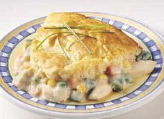 Chicken pot pie made with Bisquick. ETA: I made this yesterday and it was good BUT the Bisquick recipe used for the topping is essentially their pancake recipe, and I think it would have been better to use the actual biscuit recipe instead. Going to do that next time.