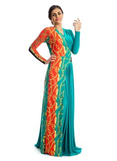 For that blend of elegance and simplicity, this maxi dress by Xela makes a great buy! It features teal and orange jersey fabric designed with printed details, long sleeves and a V-neckline to bring out that elegant look in every woman. This dress makes perfect choice for casual outings.