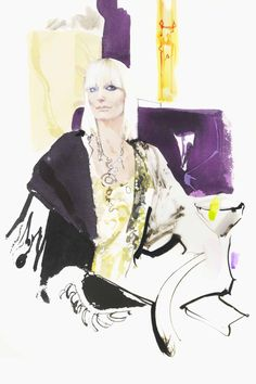 David Downton's fashion illustrations; CLARIDGE'S hotel's artist in residence. Virginia Bates.