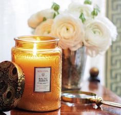 Large embossed glass jar w/metallic lid candle - baltic amber