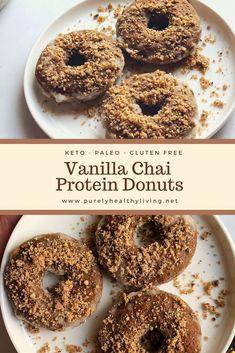 Protein Donuts, Keto Donuts, Gluten Free Donuts, Protein Desserts, Protein Snacks, Gluten Free Desserts, Chai Recipe, Vanilla Chai, Low Carb Keto