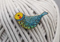 Bird Brooch Hand Painted on Wood Colorful Bird Pin Animal Jewelry. $15.00, via Etsy.