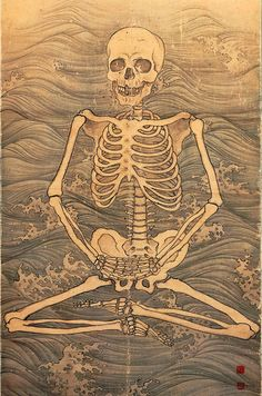 Skeleton performing zazen on waves by Maruyama Okyo, Daijoji Temple, Hyogo, Japan. Japanese Drawings, Japanese Artwork, Japanese Tattoo Art, Japanese Prints, Japan Illustration, Asian Artwork, Japanese Warrior, Japan Painting, Tibetan Art