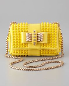 Sweet Charity Mini Spiked Shoulder Bag, Yellow by Christian Louboutin at Neiman Marcus. Bags Online Shopping, Online Bags, Jaune Orange, Sweet Charity, Fab Bag, Red Sole, Shades Of Yellow, Mellow Yellow, Bright Yellow
