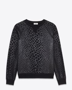 saintlaurent, Classic Crewneck Sweatshirt in Black Crocodile Printed French Terrycloth